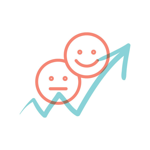 Illustrated icon representing an increase in net sentiment