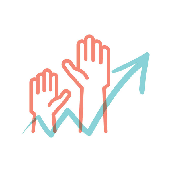 Illustrated icon with raised hands, representing an increase in attendance