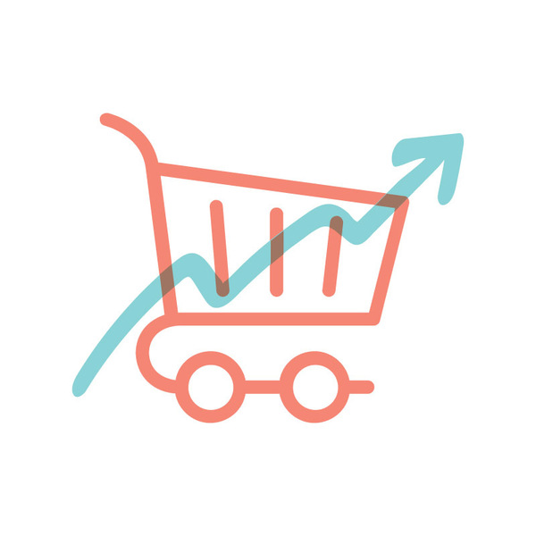 Illustrated icon of a shopping cart with up arrow, representing conversion or sales