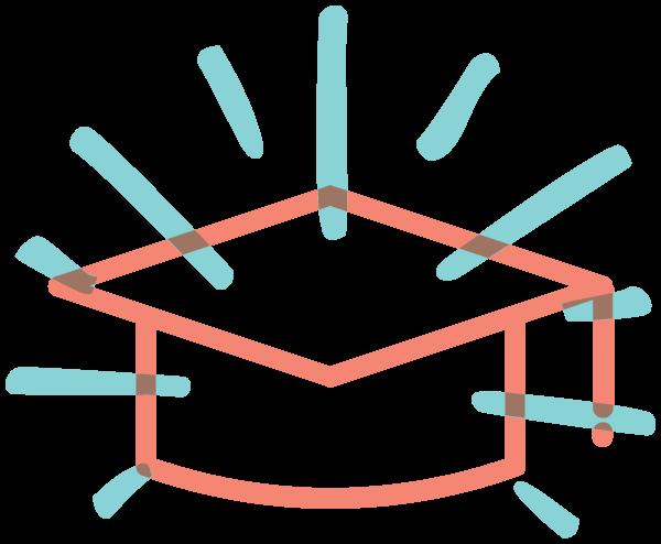 Illustrated icon of a graduation cap, representing acedemics