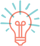 Illustrated lightbulb icon, representing an idea