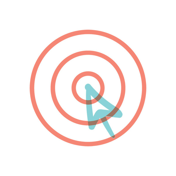 Illustrated icon of bullseye, representing a target or goal met