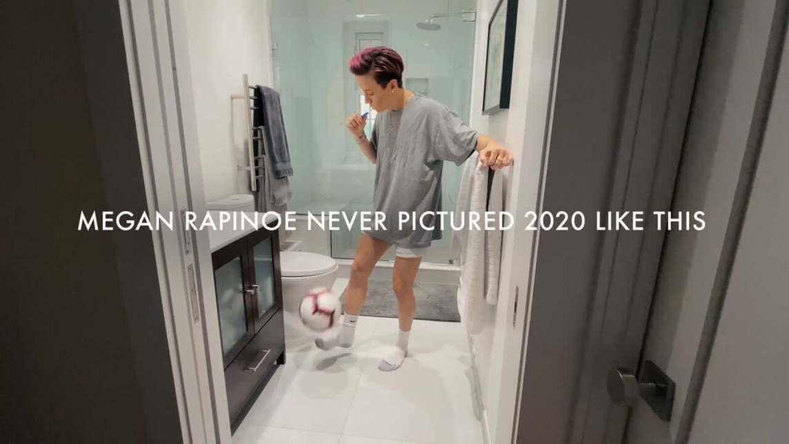 Megan Rapinoe brushing teeth and dribbling a soccer ball