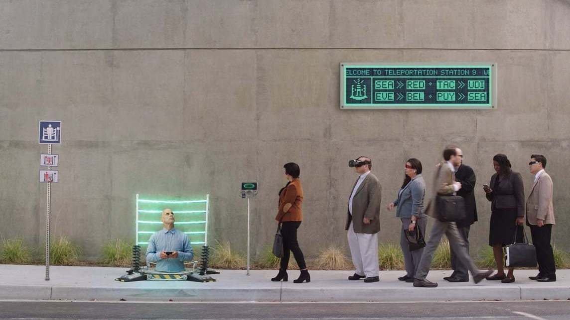 Work commuters standing in line waiting by a teleportation device