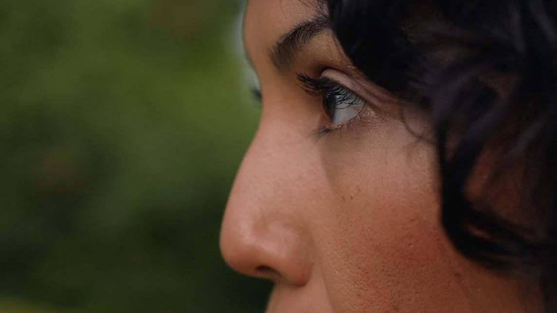 Closeup profile of a womans face