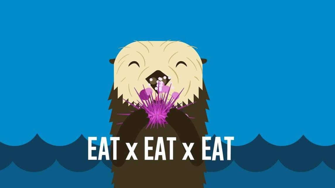 Illustration of cute sea otter eating
