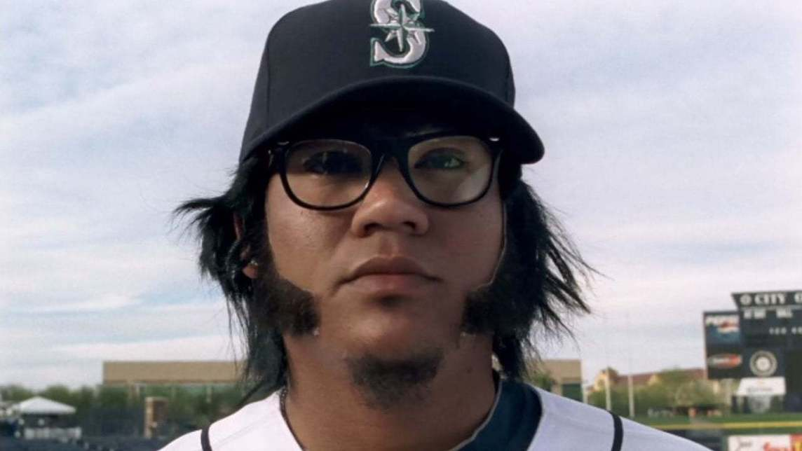 Seattle Mariners player Felix Hernandez wearing a disguise