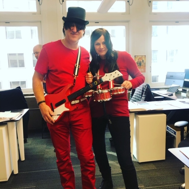 CF employees dressed as The White Stripes for Halloween