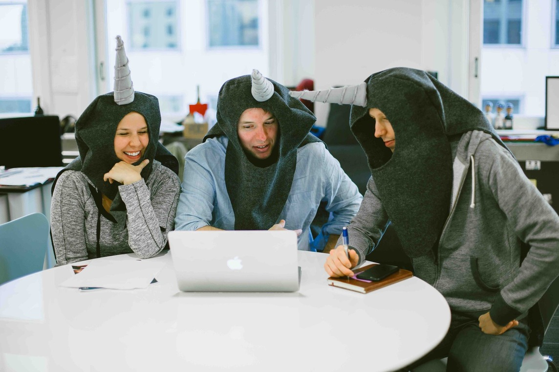 CF employees dressed as Narwhal whales for Halloween