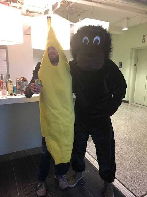 CF employees in banana and gorilla costume for Halloween