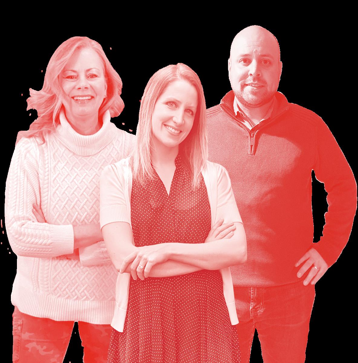 Group photograph of three members of the Copacino Fujikado Account Team