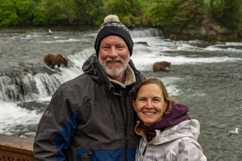 Couple Bear Viewing at Brooks Falls