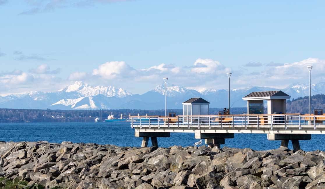 Olympic Mountains and Edmonds Fishing Pier near Lynwood Washington