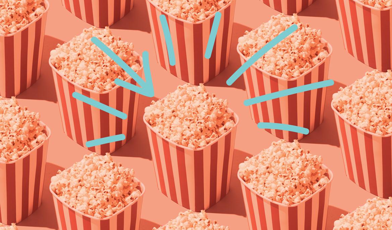 Stylized photo of identical boxes of popcorn