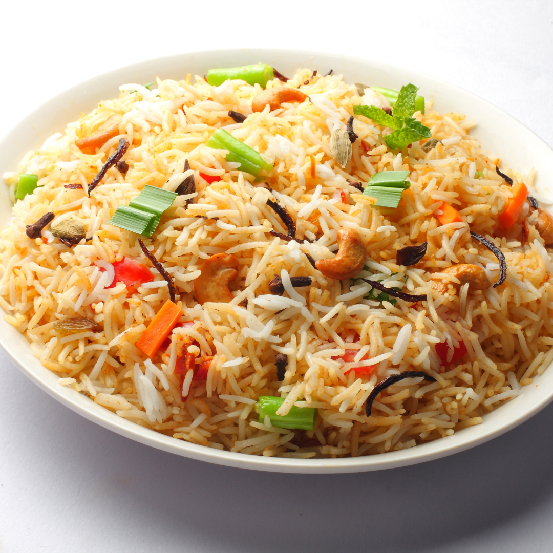 a plate of vegetable pulav.