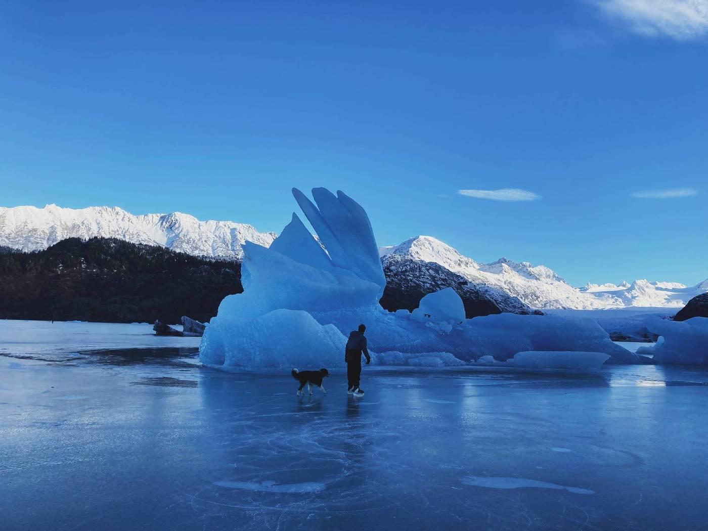 ice skating on a glacial lake