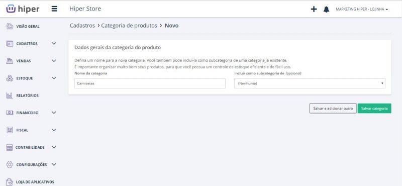 Categorias de categorias de produto no Hiper