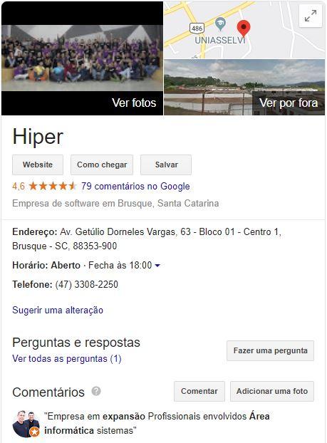 Google meu negócio - Hiper