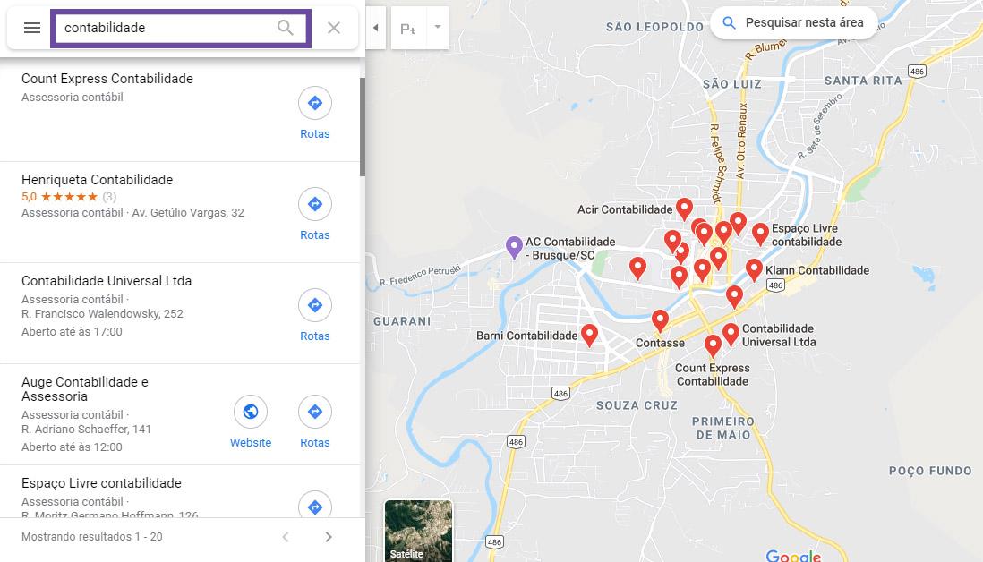 Parceria com contadores - Pesquisa no Google
