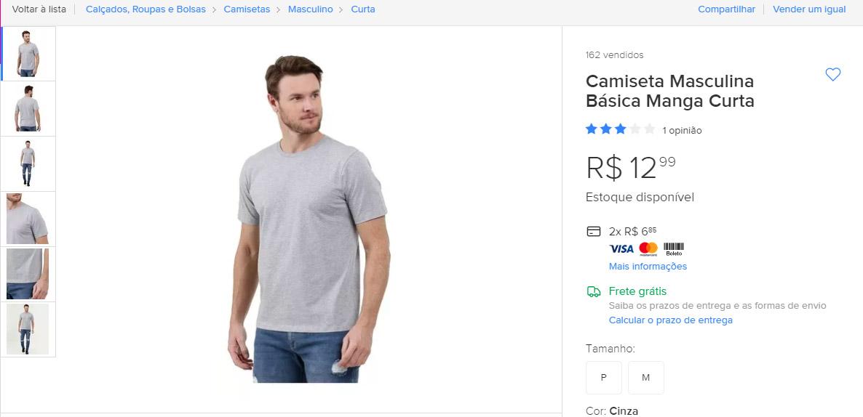 Camiseta Básica - Mercado Livre