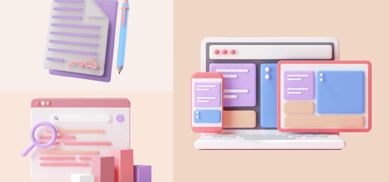 Ilustração 3D com a imagem de um caderno com caneta, tela de planilha com gráfico e notebook com telas de sistema