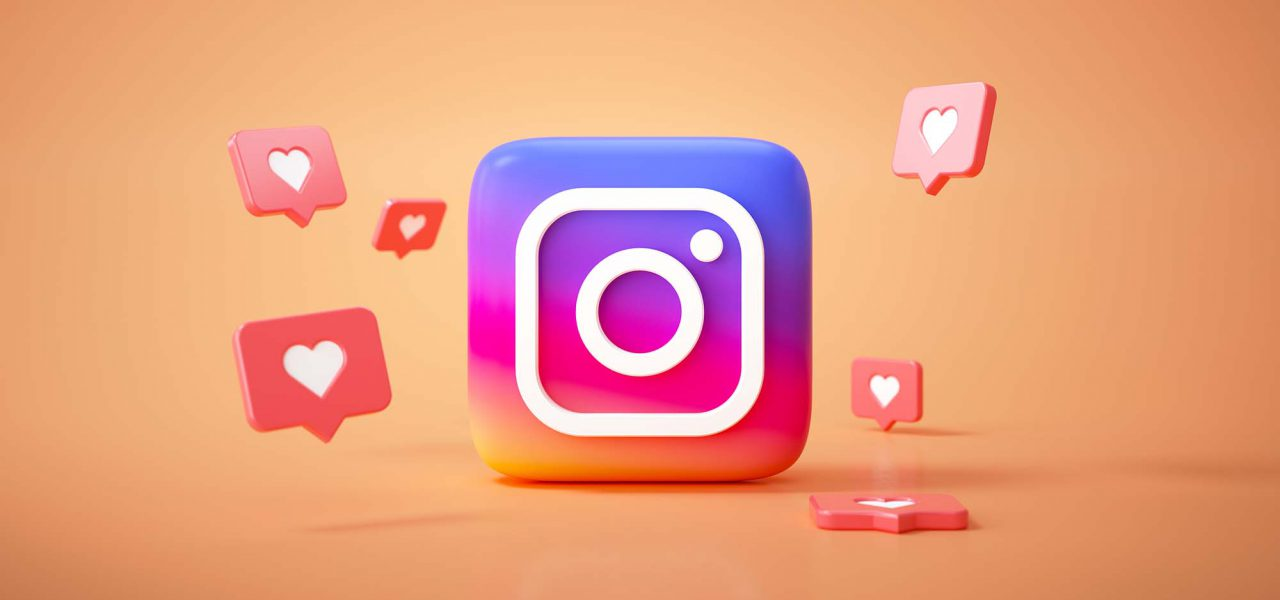 Ilustração da Logo do aplicativo Instagram no centro, com corações ao redor