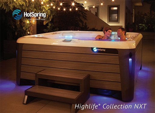 The cover of the Hot Spring Highlife NXT brochure and a link to download the full hot tub brochure