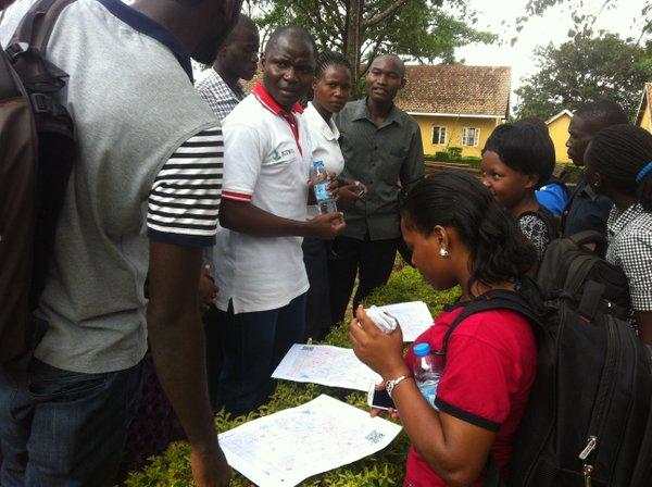 Douglas instructing students at UCU Mbale
