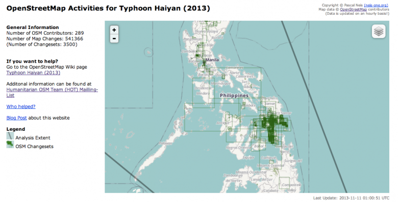 Screenshot of the OpenStreetMap activities for Typhoon Haiyan (2013)