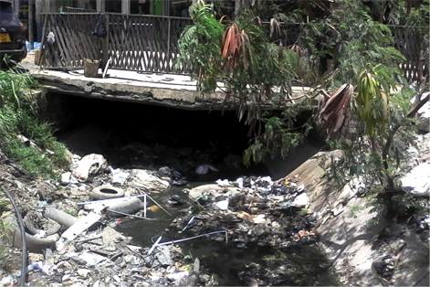 Construction over streams in Sinza Mori PHOTO CREDIT: Ramani Huria