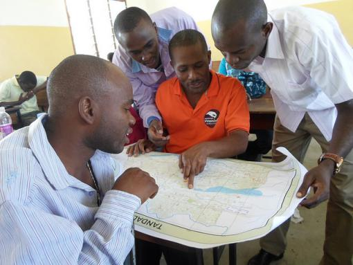 Community members mapping in Mchikichini ward, Ilala District, Dar es Salaam