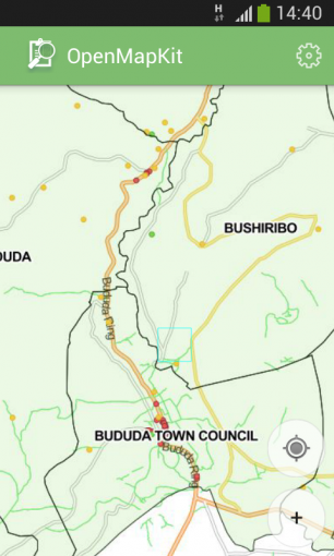 Base map showing district and subcounty boundaries, and indicating the presence of known services