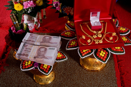 Traditionally in Thailand, the bride price was formally presented at the engagement ceremony.