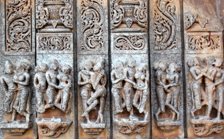 Scenes from the Kama Sutra (one of the oldest and most popular guidesto the techniques of sex) in a Hindu temple. Here we see a side of sex and sexuality beyond the purely mechanical or taboo. Kandukuru Nagarjunfrom Bangalore.