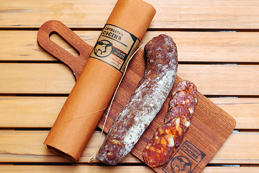 Charlito Cocina's salami picante, slowly dry-cured with pasture-raised, heritage breed pork, hand-harvested sea salt, and a house-made blend of chiles.