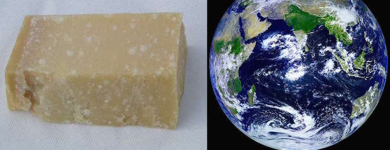 Parmigiano on the left, and our beautiful blue planet on the right. (Wikimedia Commons and Flickr)