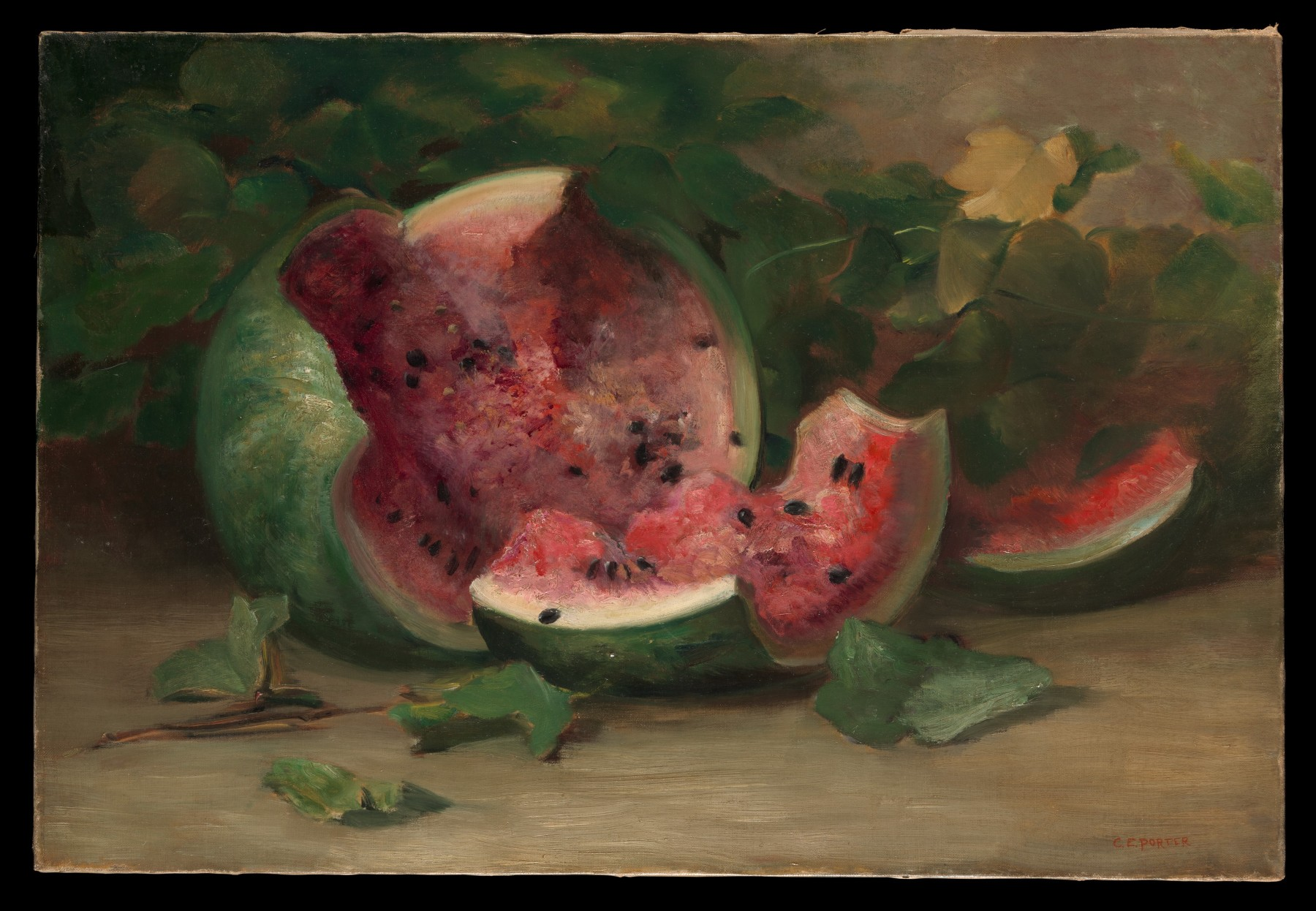 Charles Ethan Porter (1847–1923) Untitled (Cracked Watermelon), ca. 1890 American, oil on canvas; 19 1/8 × 28 3/16 in. (48.6 × 71.6 cm) The Metropolitan Museum of Art, New York, Purchase, Nancy Dunn Revocable Trust, 2015 (2015.118) http://www.metmuseum.org/Collections/search-the-collections/677910