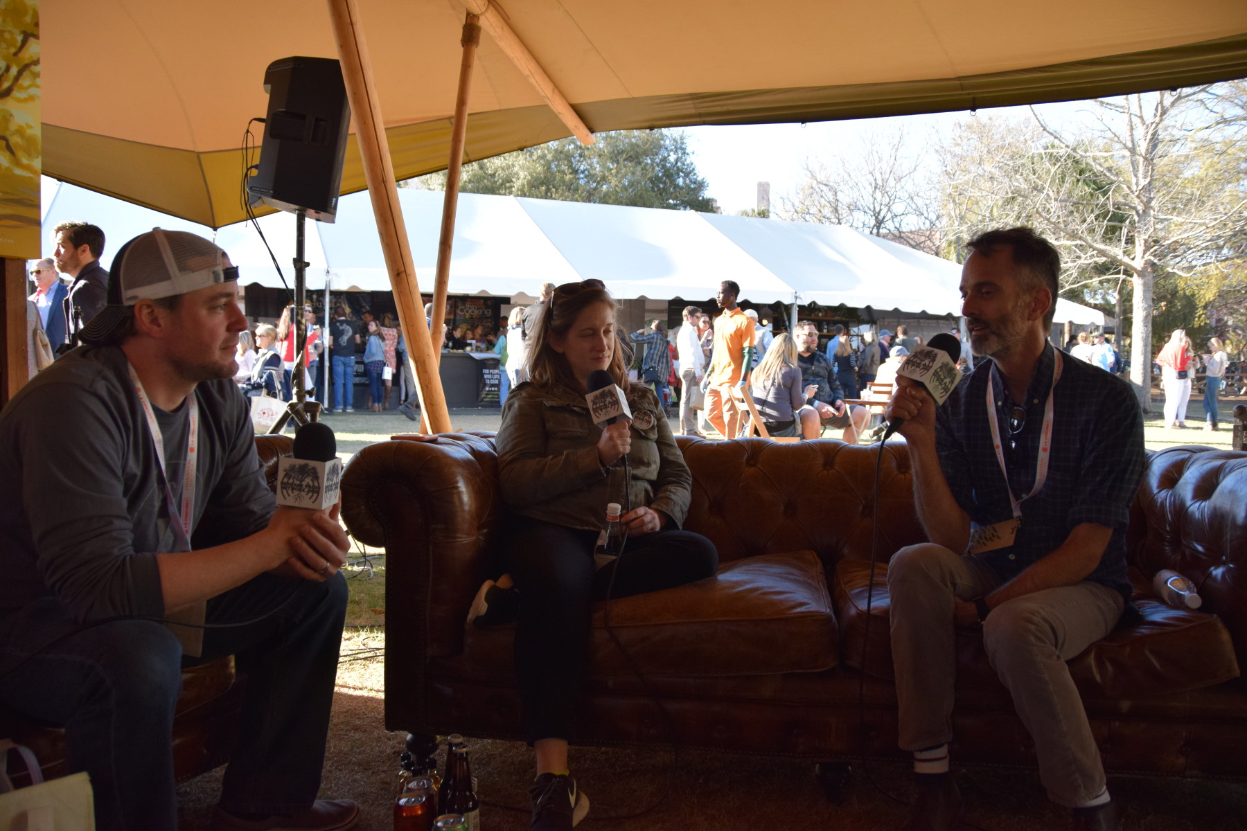 Nick Leahy and Steven Satterfield join Kat in the tee pee at Charleston Wine + Food