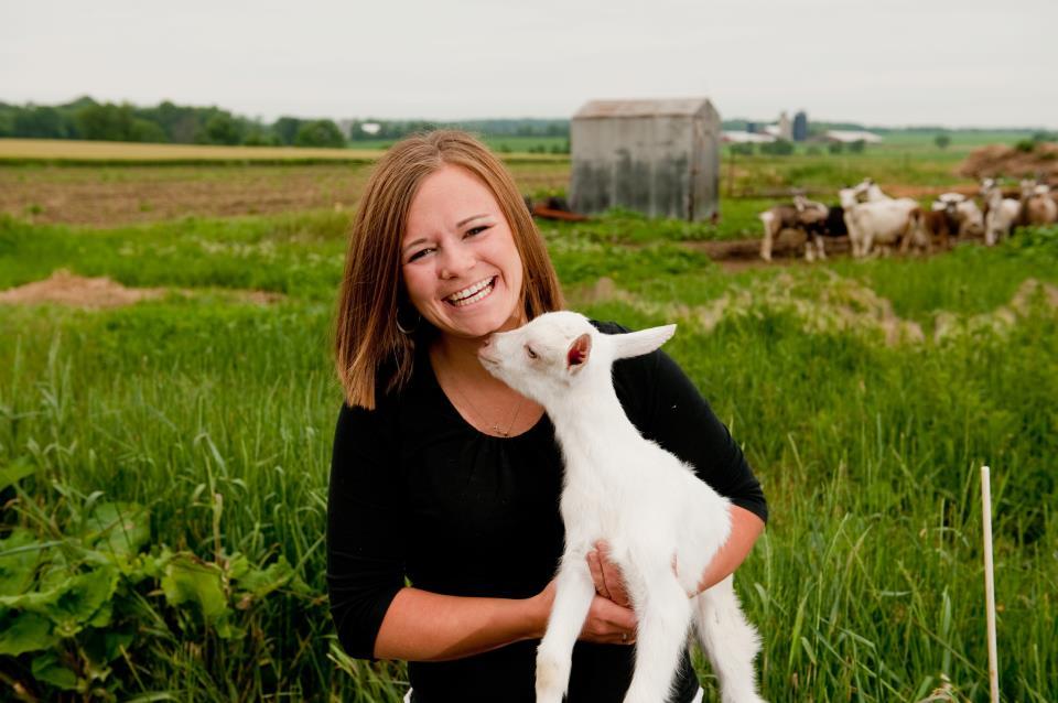 Katie with goat - Elena Santogade