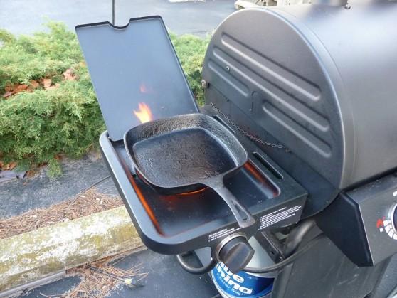 Cast Iron Skillet on Side Burner for Blackening