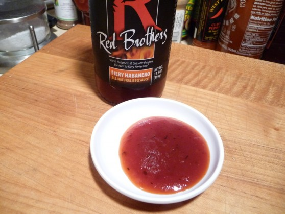Red Brothers Fiery Habanero Sauce in dish