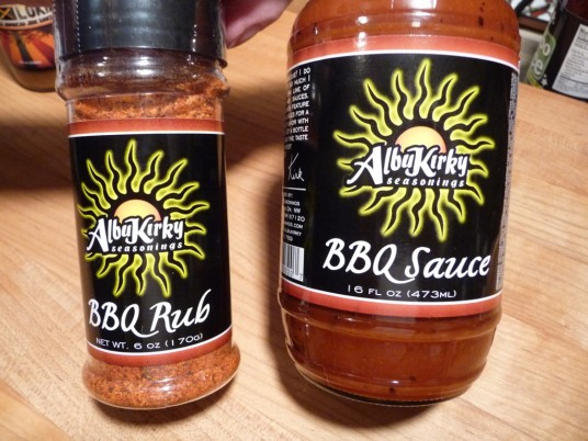 AlbuKirky BBQ Rub and BBQ Sauce bottles