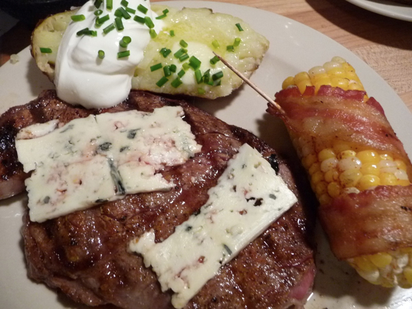 Bacon Wrapped Grilled Corn with Blue Cheese Ribeye Steak Dinner