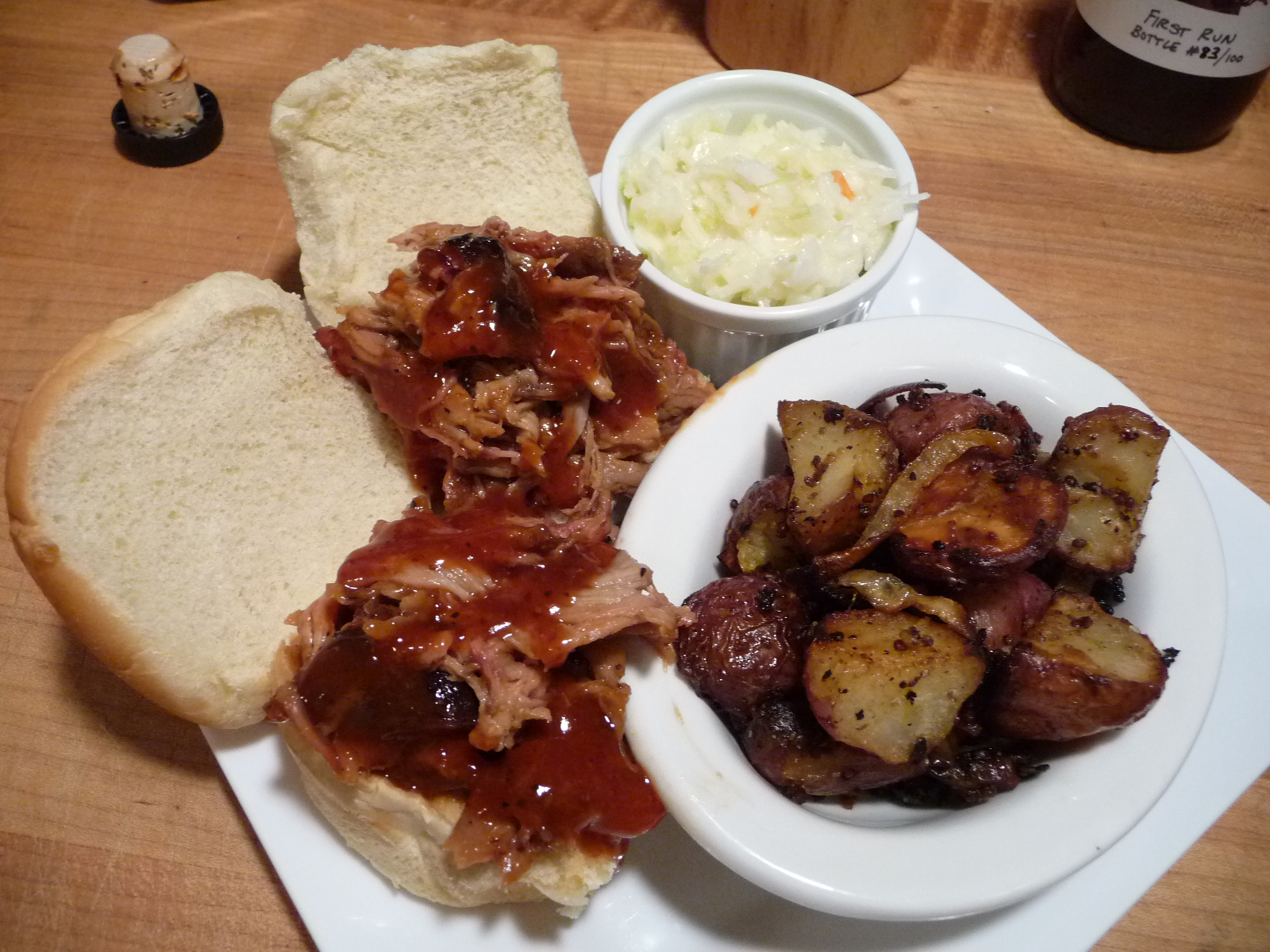 Outstanding dinner of pulled pork with Kramers and mustard potatoes
