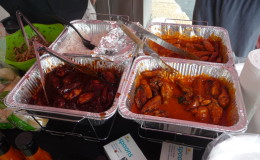 Clockwise - rice, Rippin Red Orig wings, Rippin Red Hot wings, BBQ wings with Ojeda's