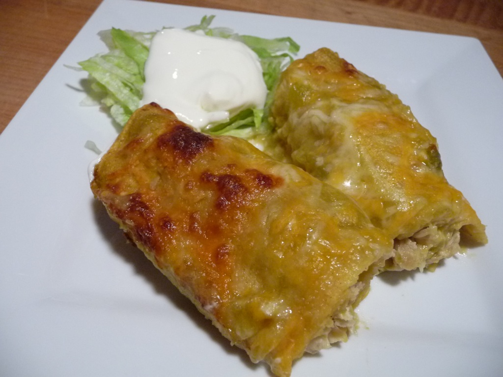 Green Chile Chicken Enchilada dinner