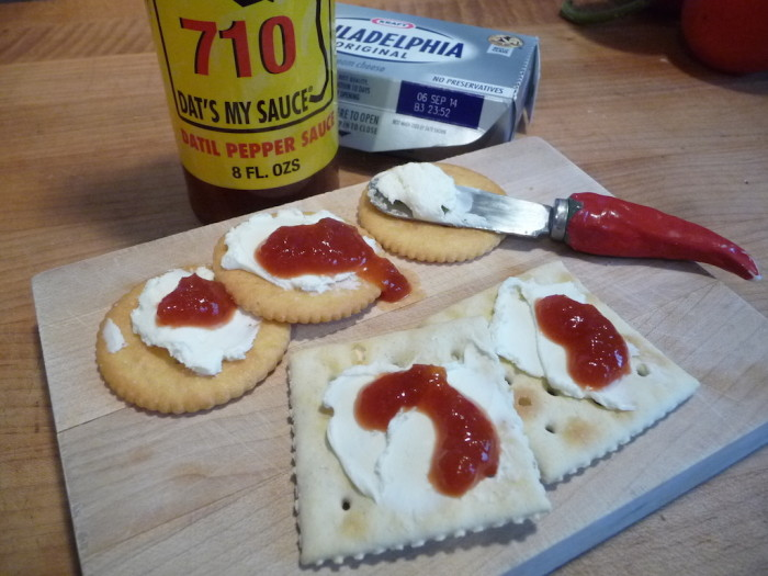 710 Datil Sauce on Cream Cheese and Crackers