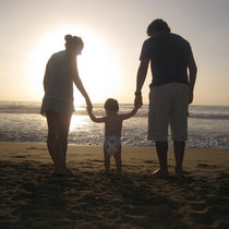 Family beach mom dad child stock public domain