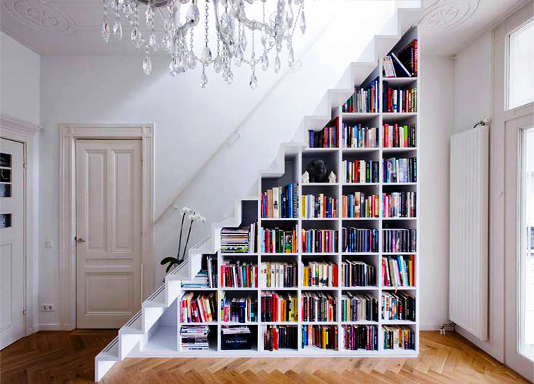 shelves under staircase