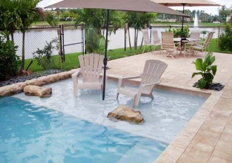 lounge platform in pool